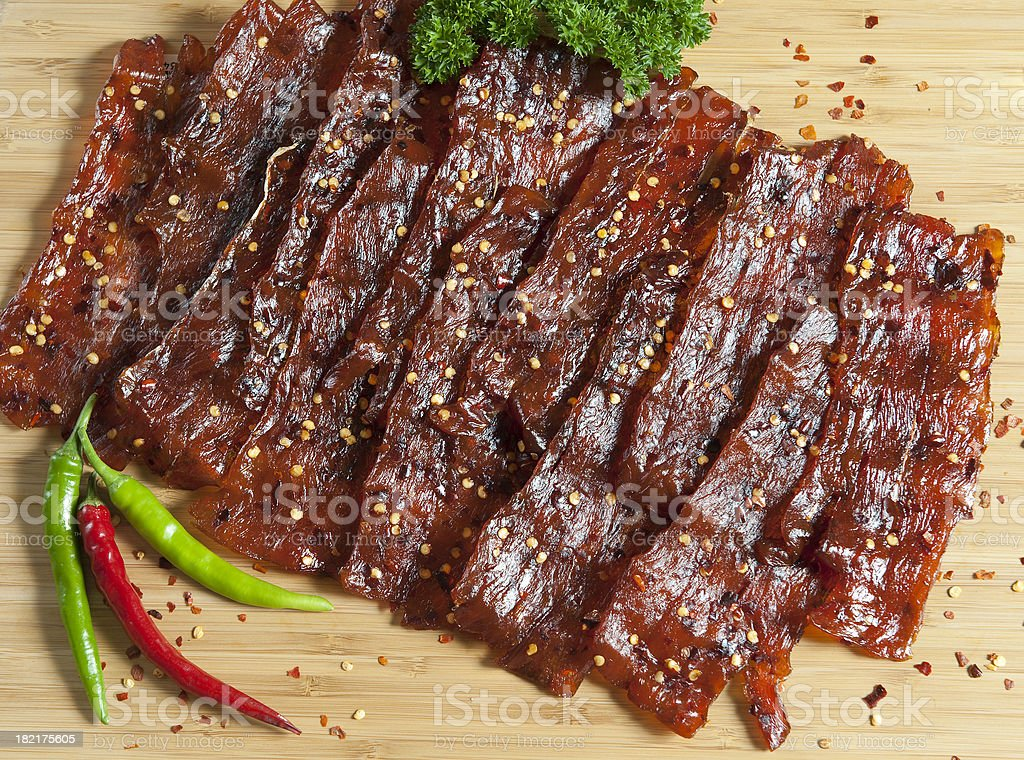 Chili Salmon Jerky stock photo