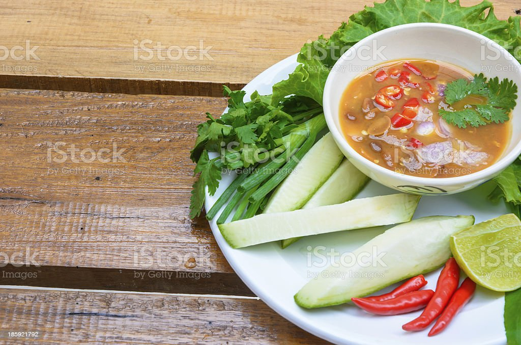 chili sauce and vegetable stock photo