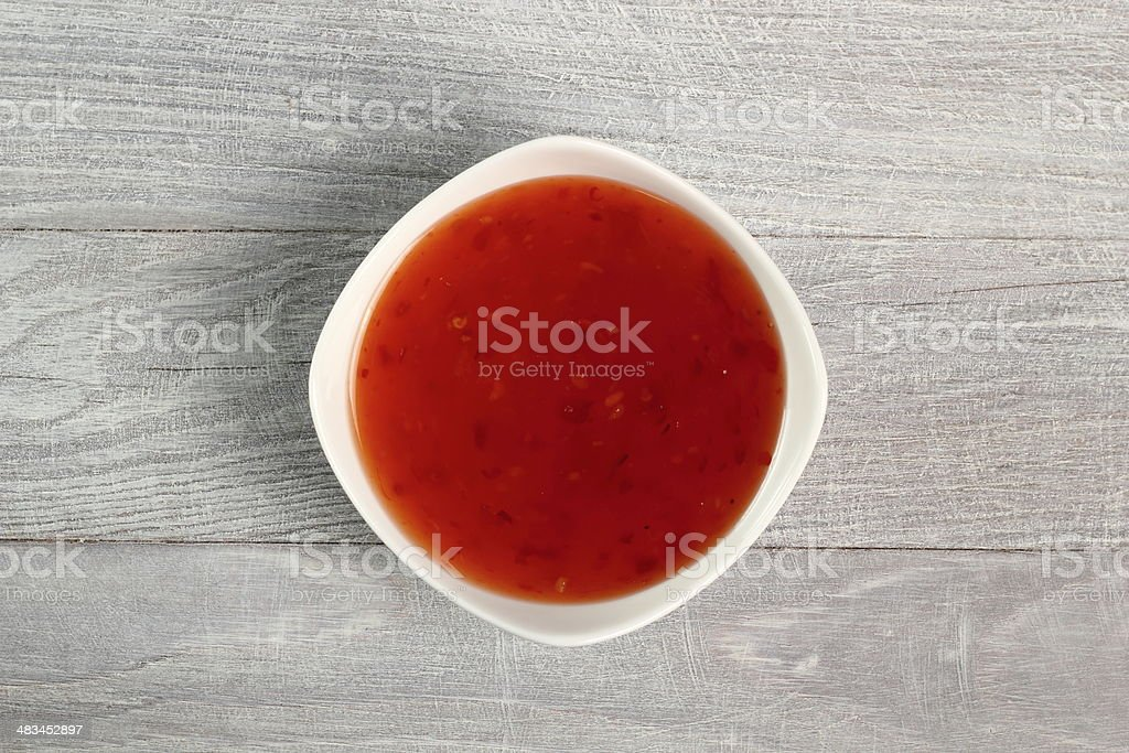 Chili Sauce in Bowl. Directly Above. stock photo