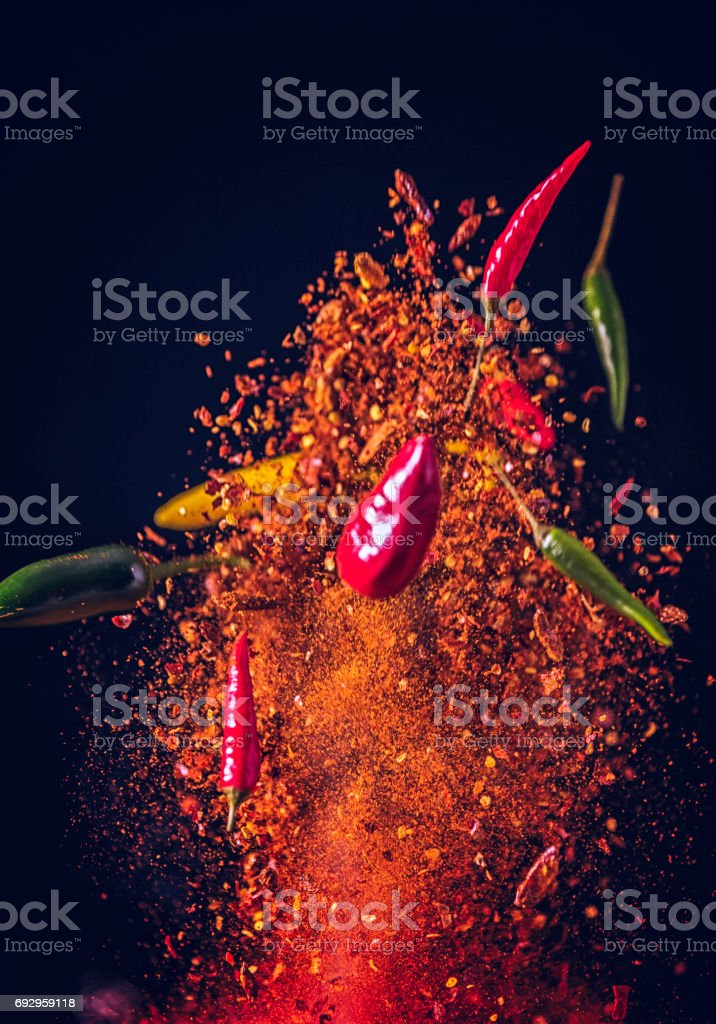 Chili Spice Mix Food Explosion stock photo