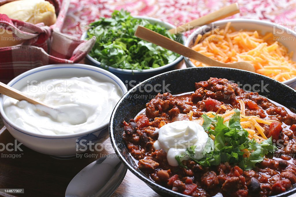 Chili & toppings royalty-free stock photo