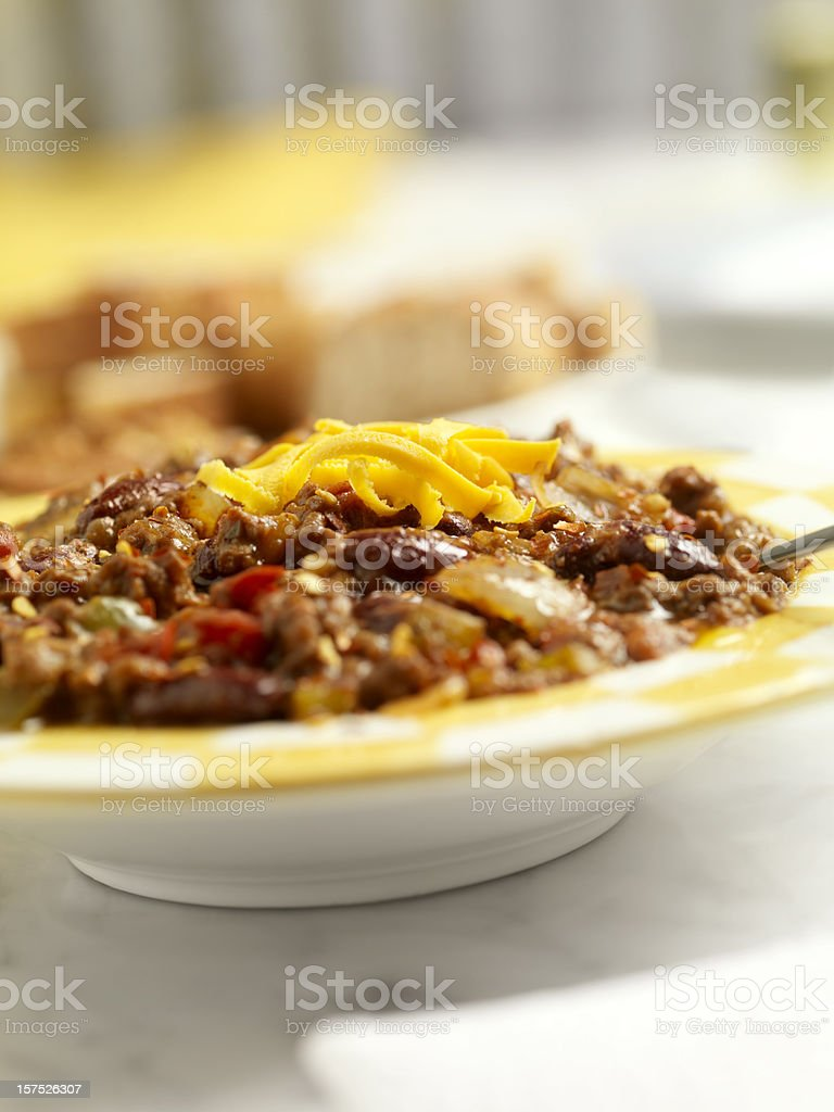 Chili with Beans and Cheese royalty-free stock photo
