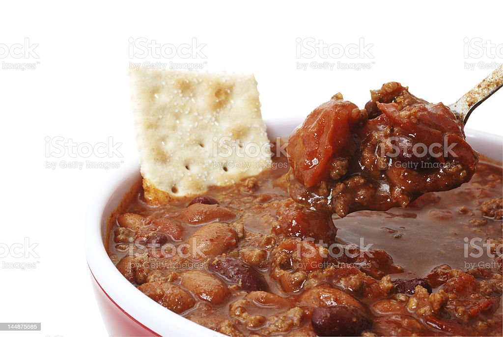 Chili with Beans and Cracker stock photo