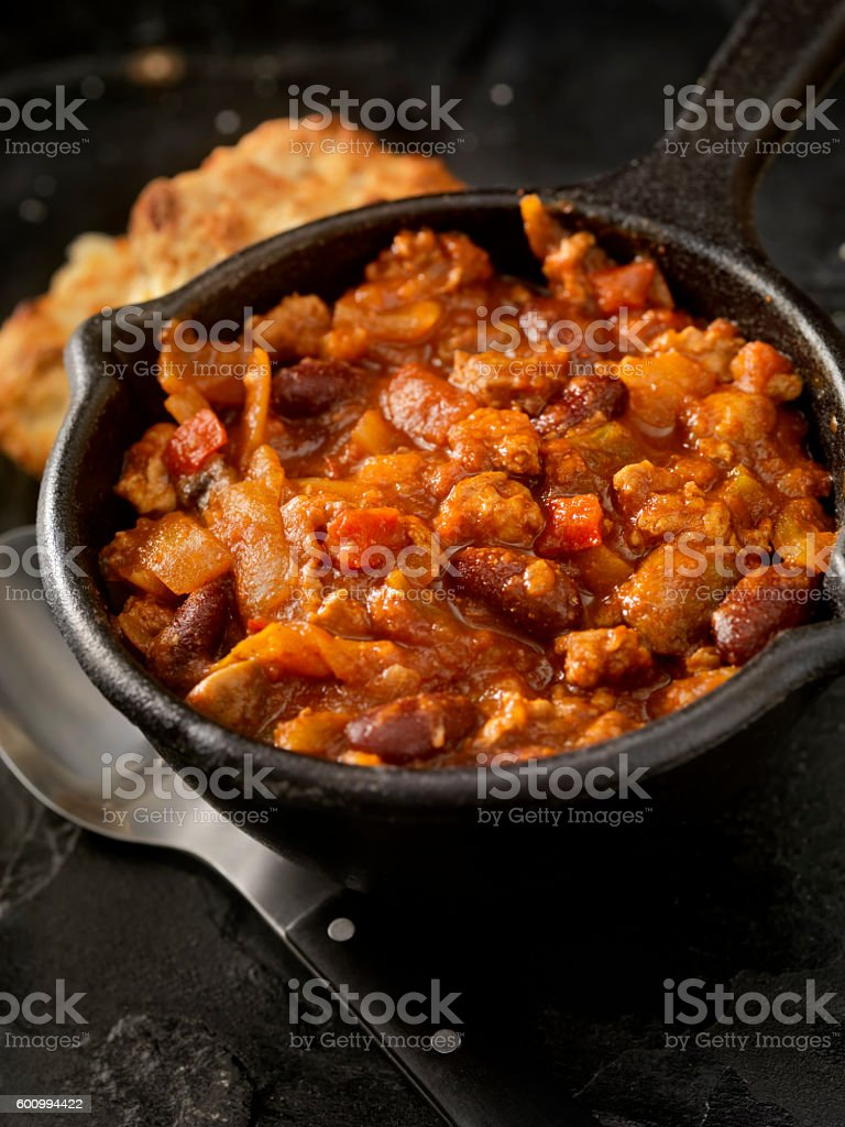 Chili with Fresh Biscuits stock photo