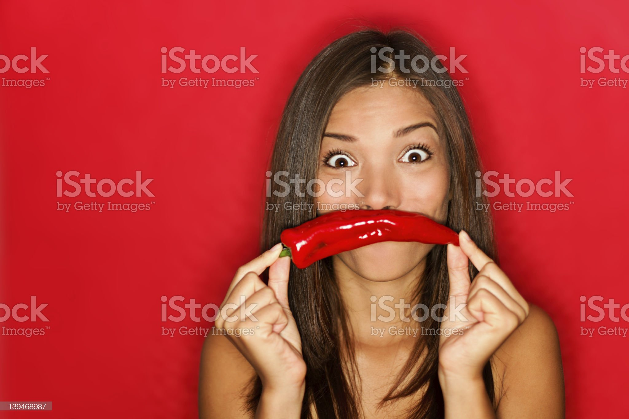 Chili woman funny on red royalty-free stock photo