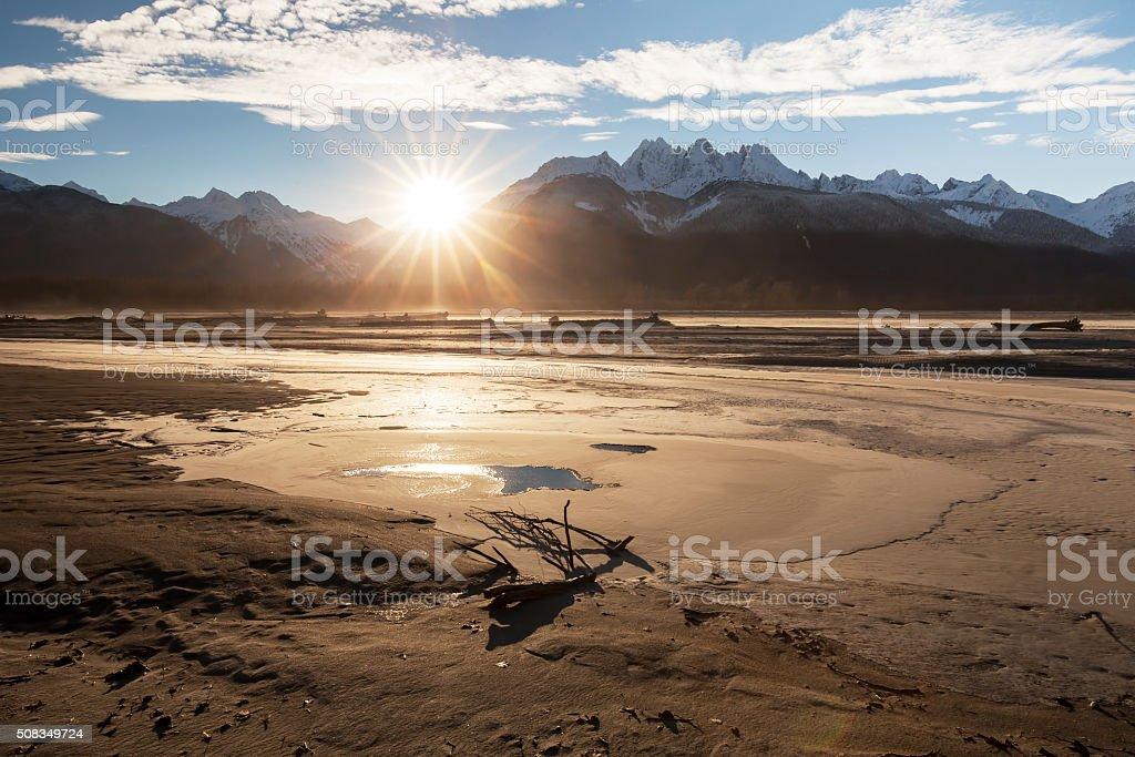 Chilkat River Sunset stock photo