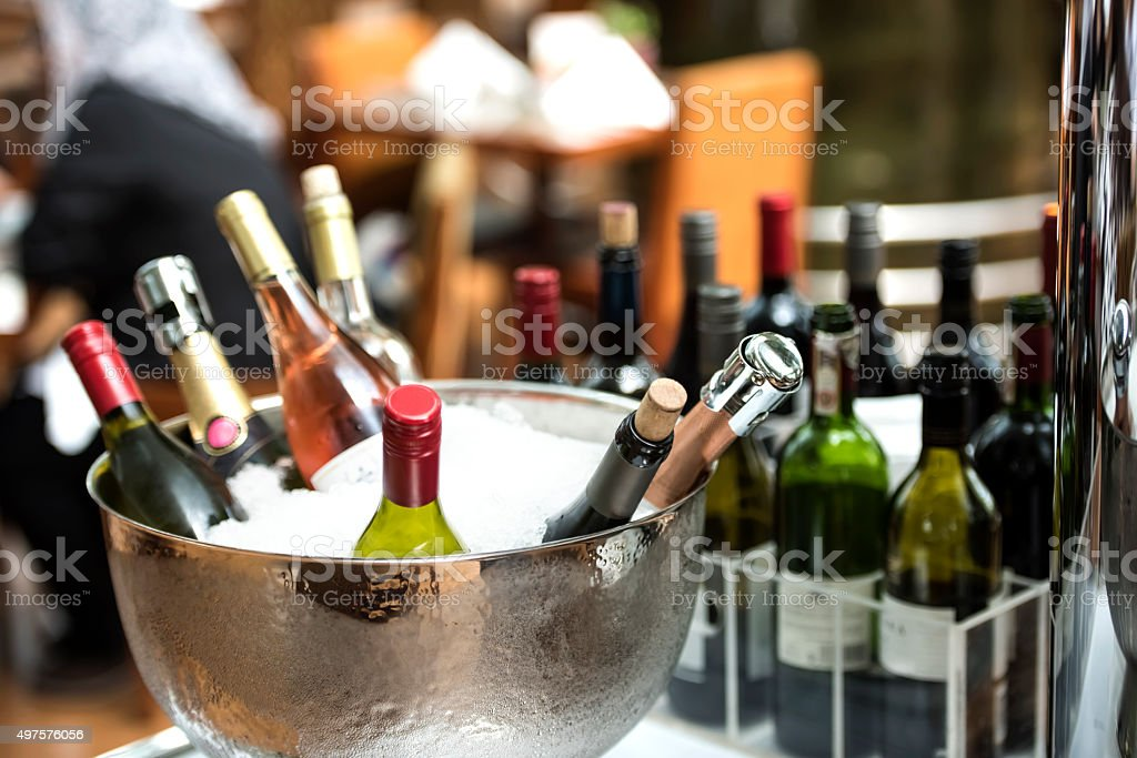 Chilled Alcohol Bottles stock photo