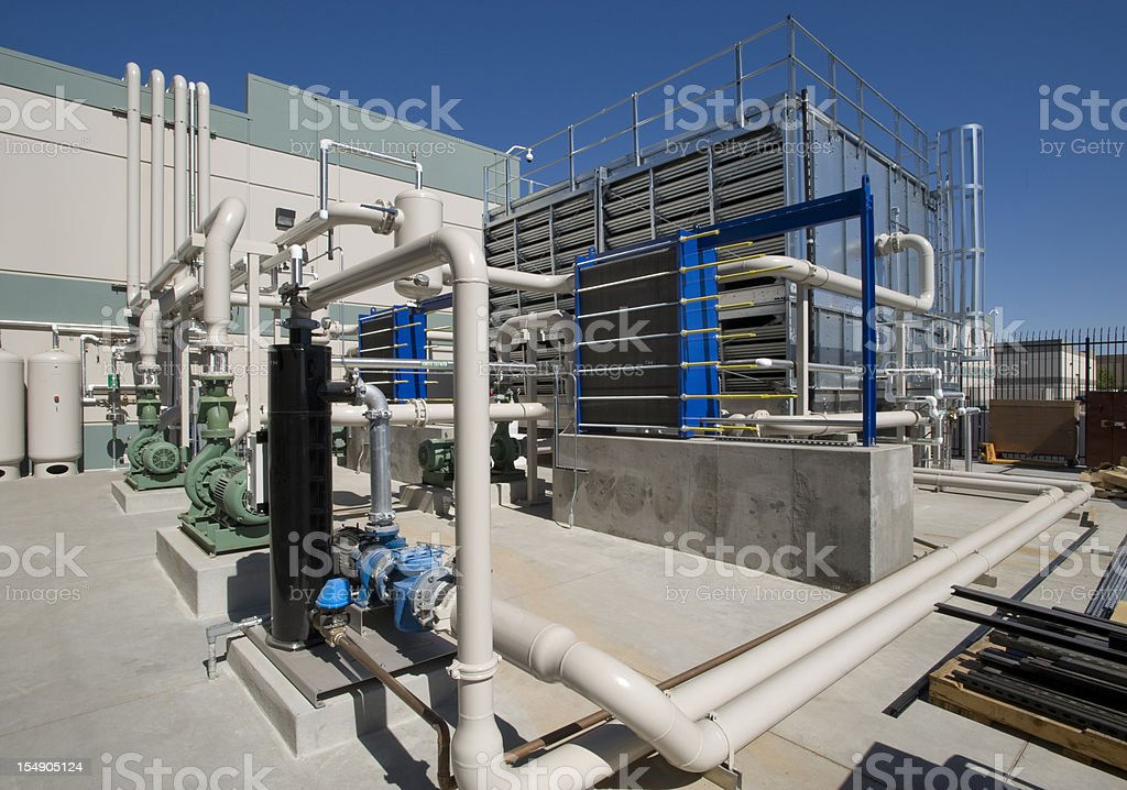 Chiller tower with pumps. stock photo