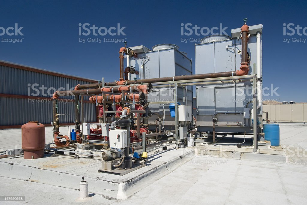 Chiller Towers and Pumps stock photo