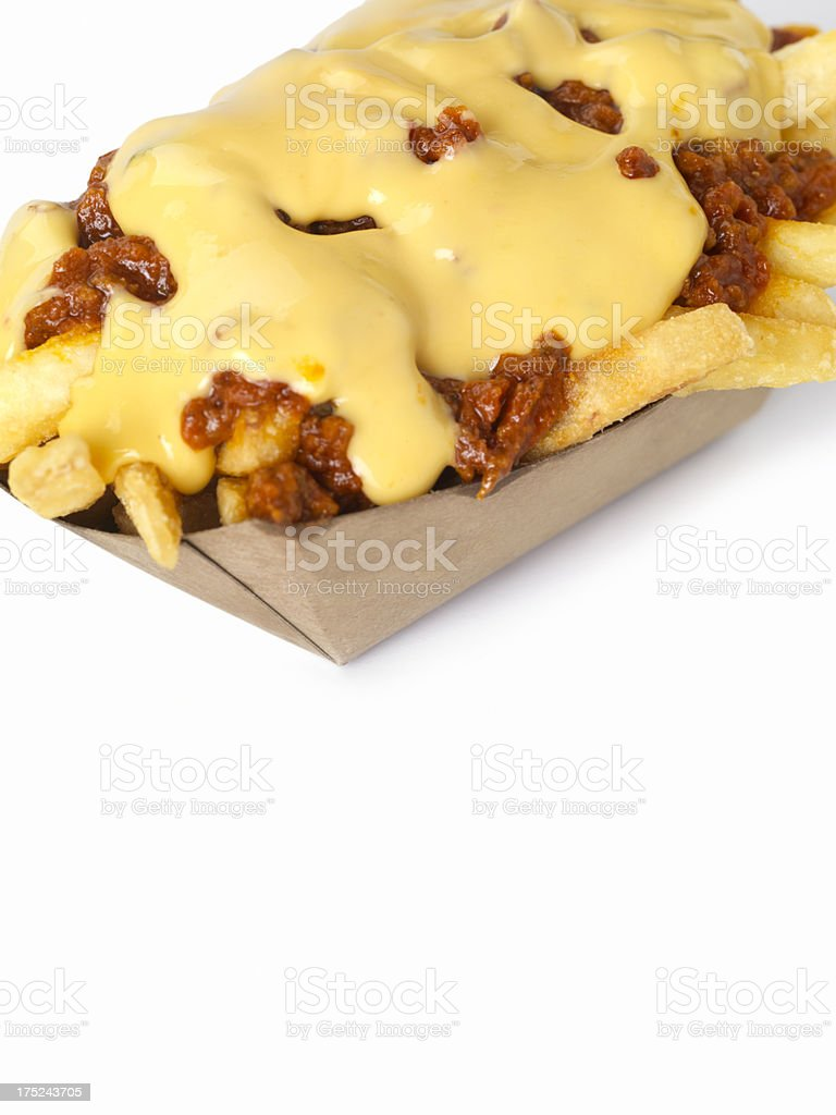 Chilli Cheese Fries royalty-free stock photo