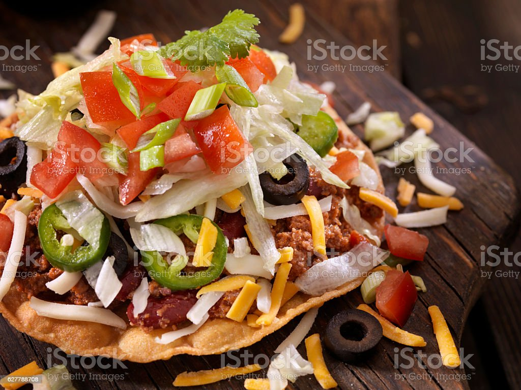 Chilli Cheese Tostada stock photo