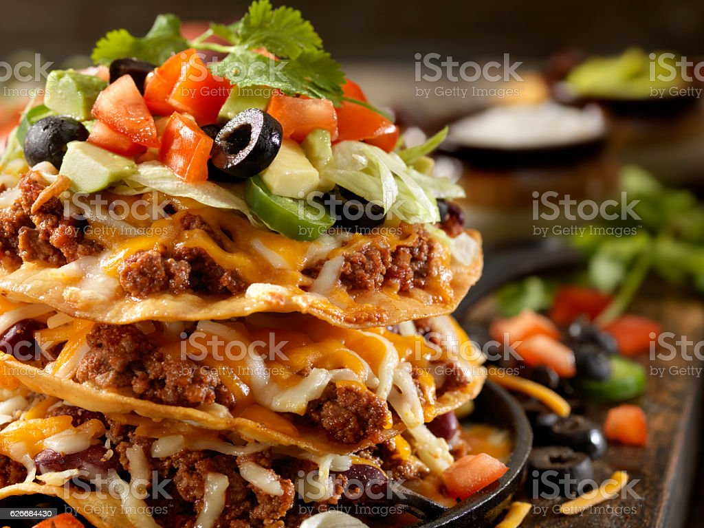 Chilli Cheese Tostada Tower stock photo