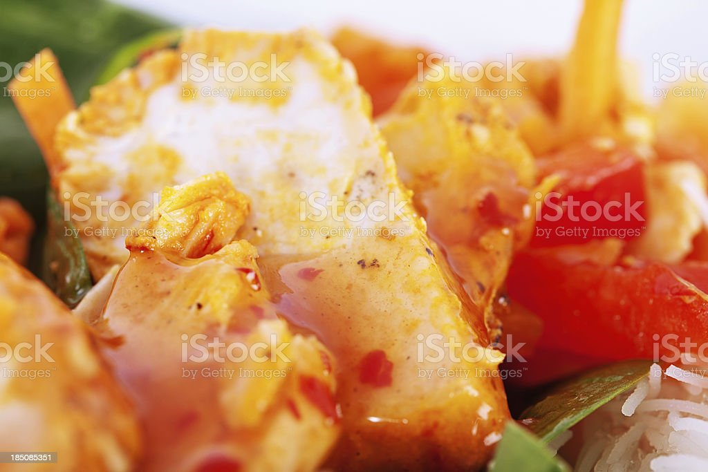 Chilli Chicken Salad with Rice Noodles stock photo