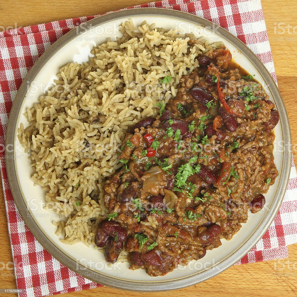 Chilli Con Carne with Brown Rice stock photo