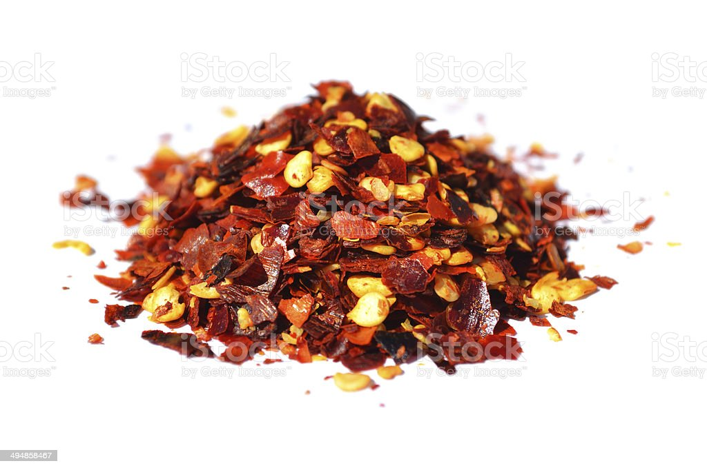 Chilli (Chili) Flakes Close-up stock photo