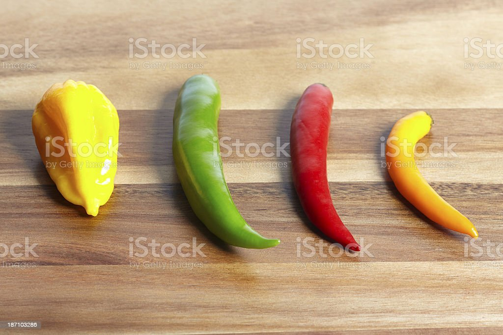 Chilli hot peppers on table royalty-free stock photo