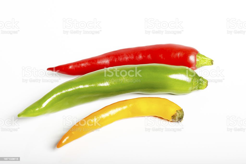 Chilli hot peppers on white background stock photo