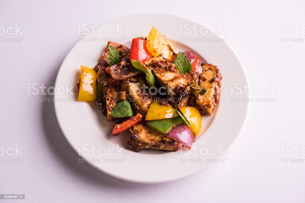 chilli paneer indian snack food stock photo