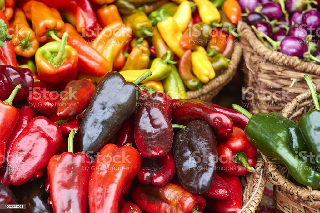 Chilli Peppers For Sale At the Market royalty-free stock photo