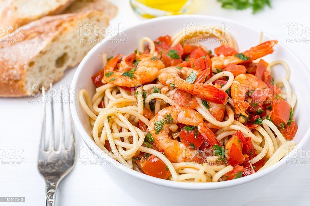 Chilli Prawn and Tomato Spaghetti royalty-free stock photo