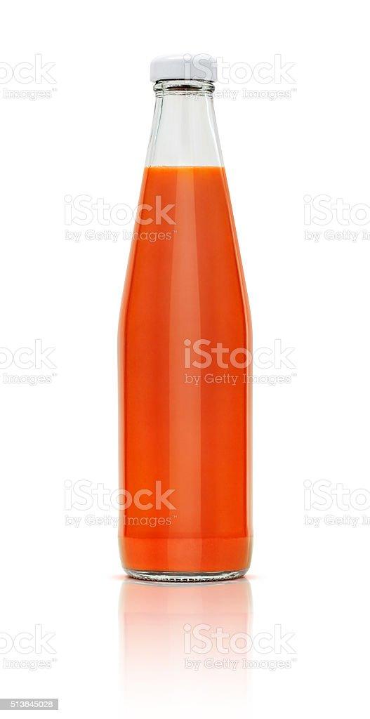 chilli sauce bottle isolated on white background stock photo