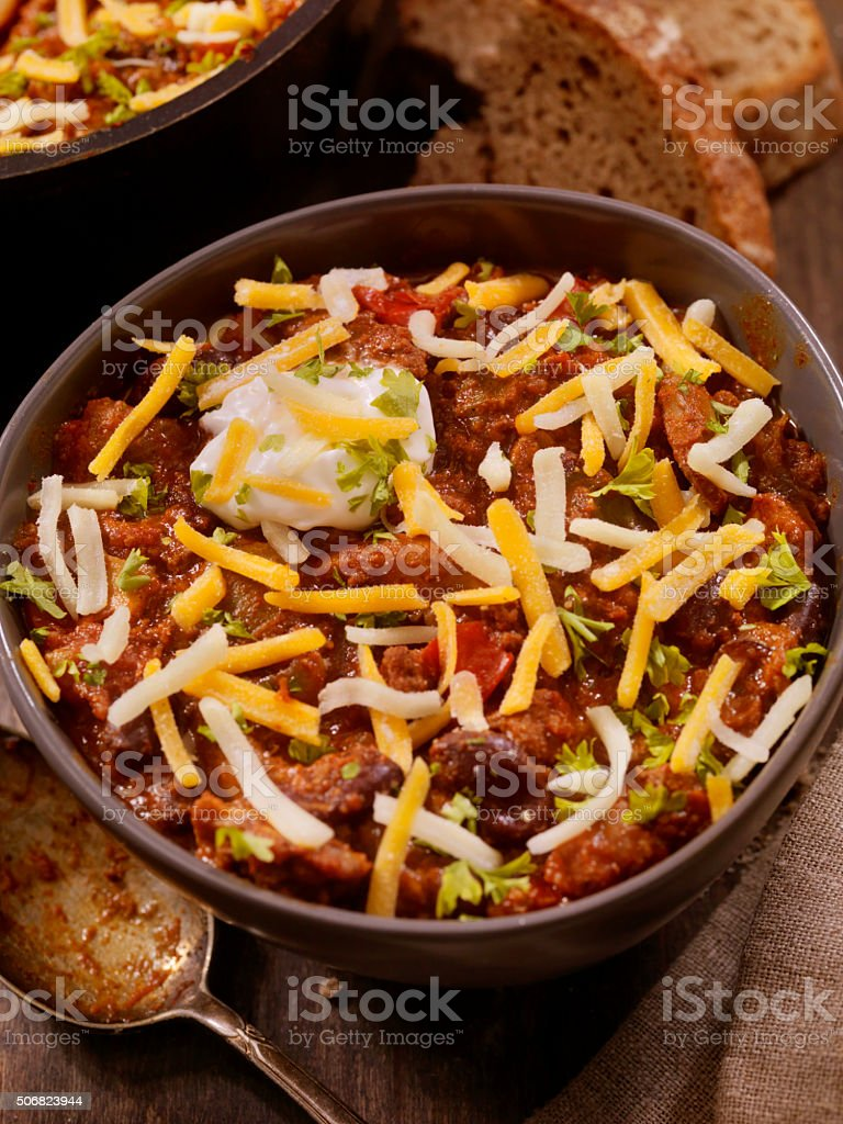 Chilli with Peppers, Mushrooms and Beans stock photo