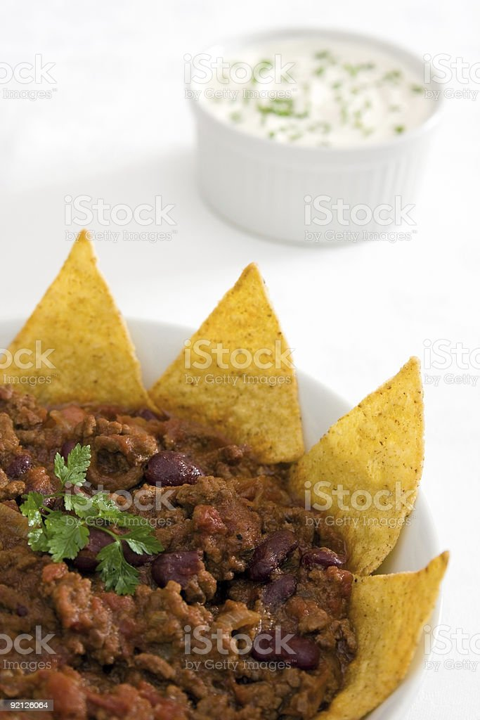 Chilli with tortillas and sour cream royalty-free stock photo