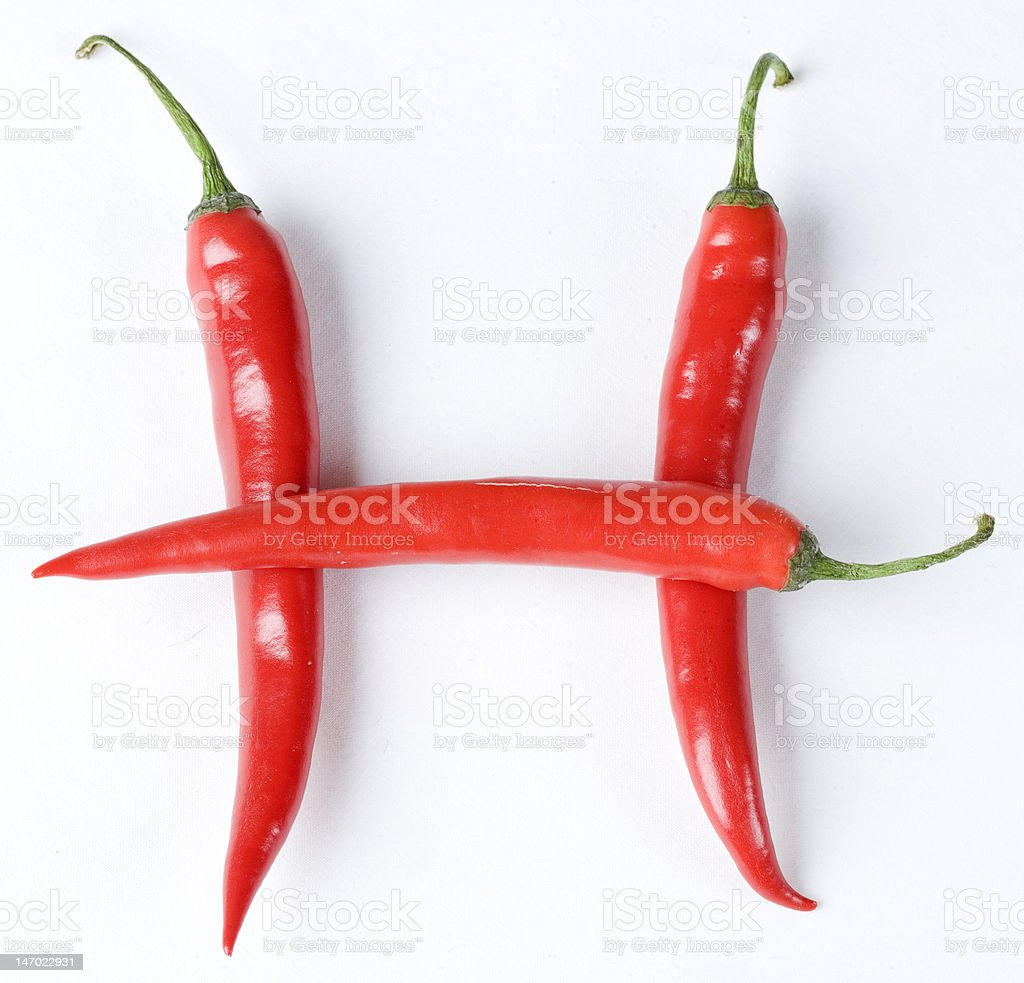 chillies in the letter H royalty-free stock photo