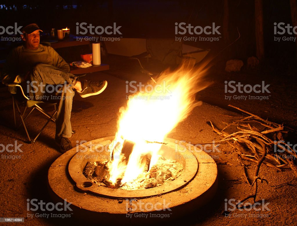 chillin by the campfire royalty-free stock photo