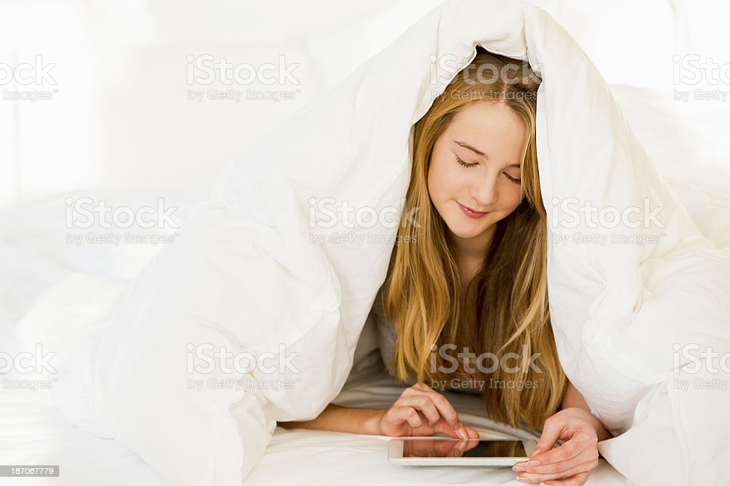 Chilling in Bed royalty-free stock photo