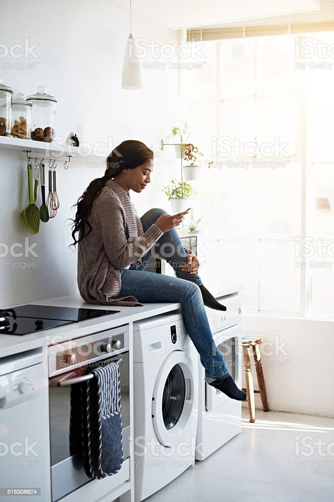 Chilling in the kitchen stock photo