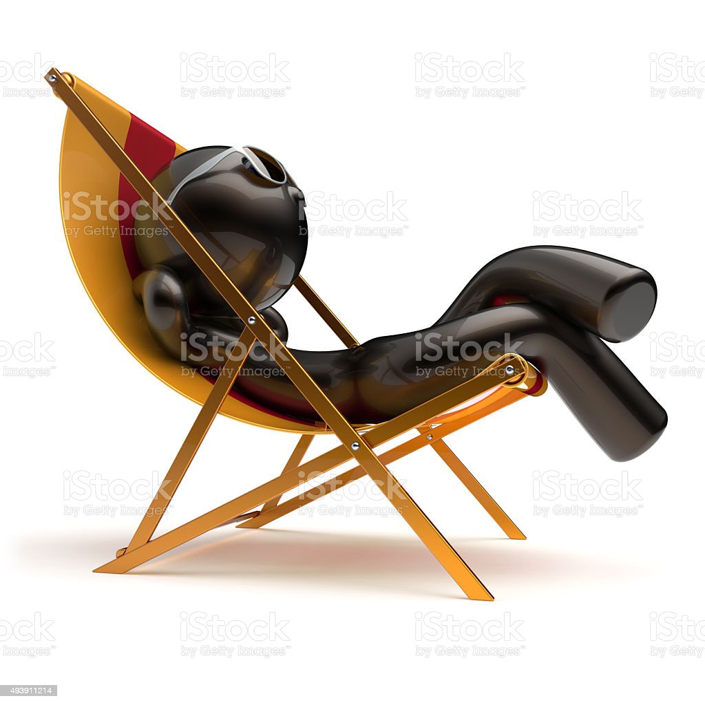 Chilling man summer relax carefree sunburn beach deck chair stock photo