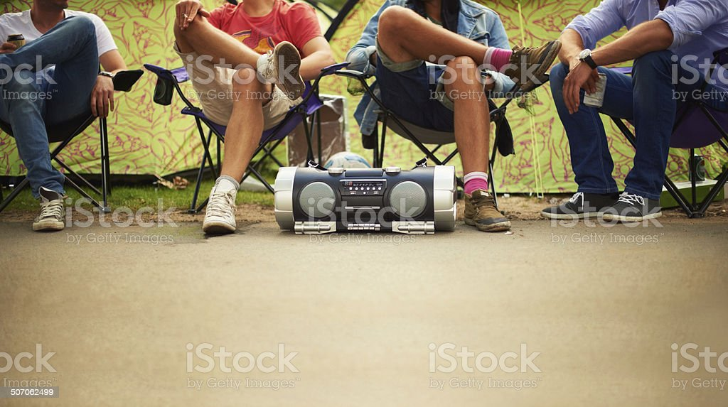 Chilling to the beat stock photo