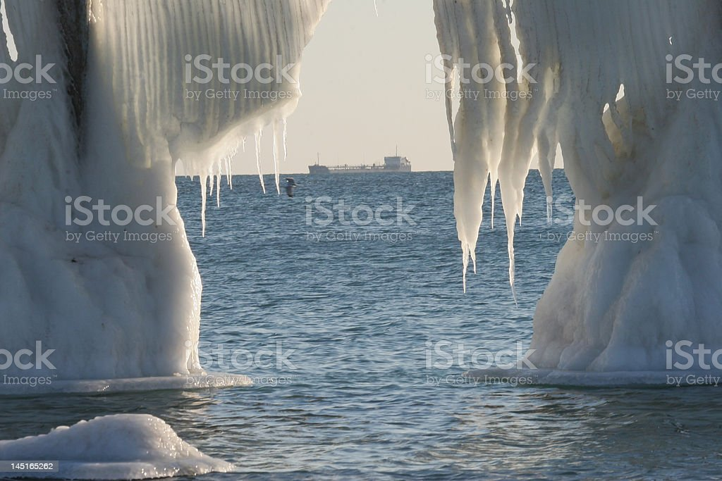 Chilling wall ice in Caspian sea royalty-free stock photo