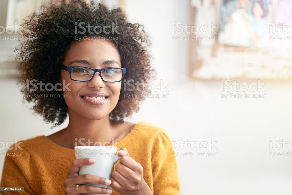 Chilling with a fresh cup stock photo