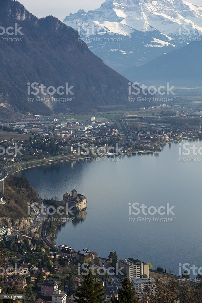 Chillon Castle and Geneva Lake viewed from  Rochers de Naye stock photo