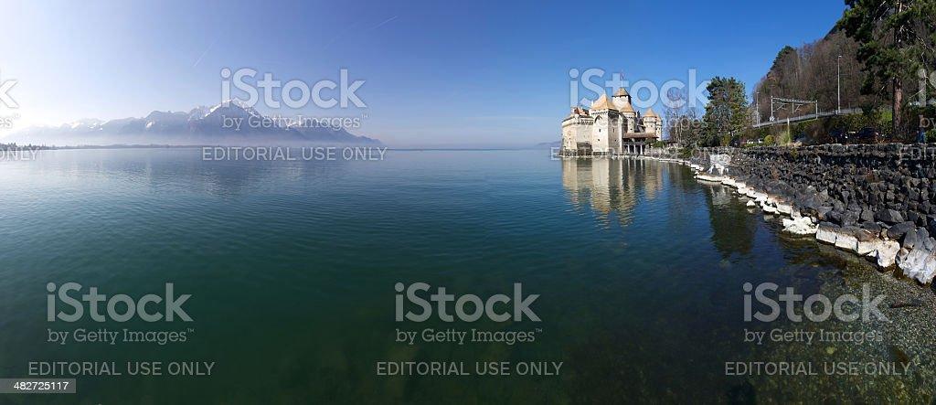 Chillon Castle and Lake Geneva stock photo