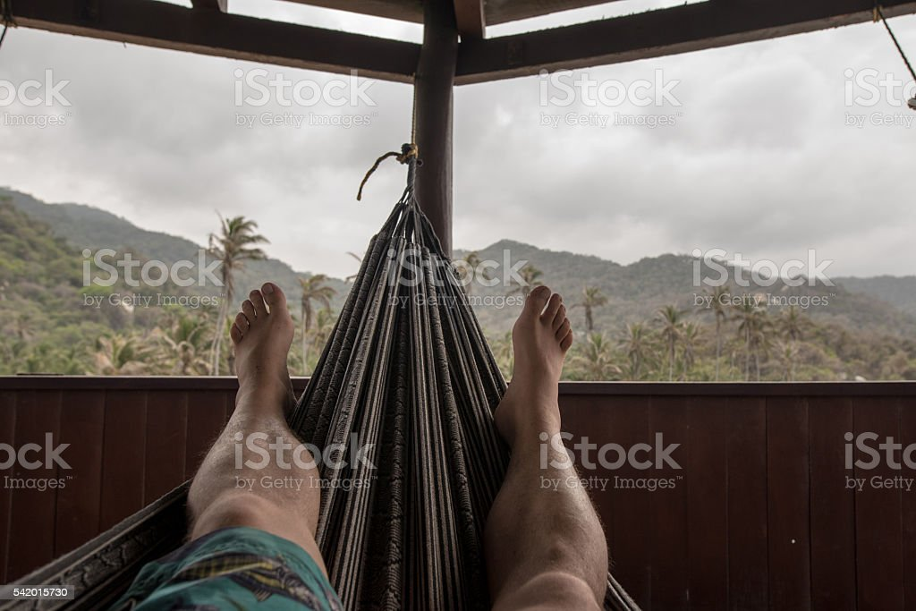 Chillout in a hammock in the Parque Nacional Natural Tayrona stock photo