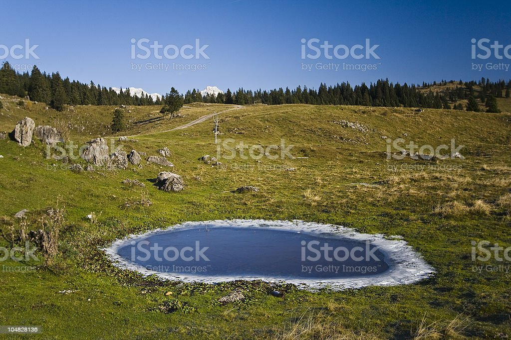 chilly morning on the threshold of alps royalty-free stock photo