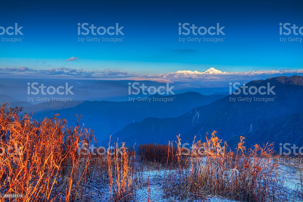 Chilly winter sunrise at Lunhgthang, Sikkim, West Bengal, India stock photo