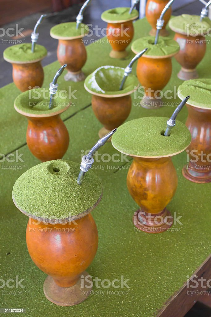 Chimarrao drink prepared in different ways stock photo