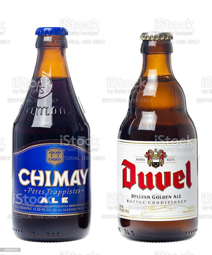 Chimay And Duvel Belgian Beers stock photo
