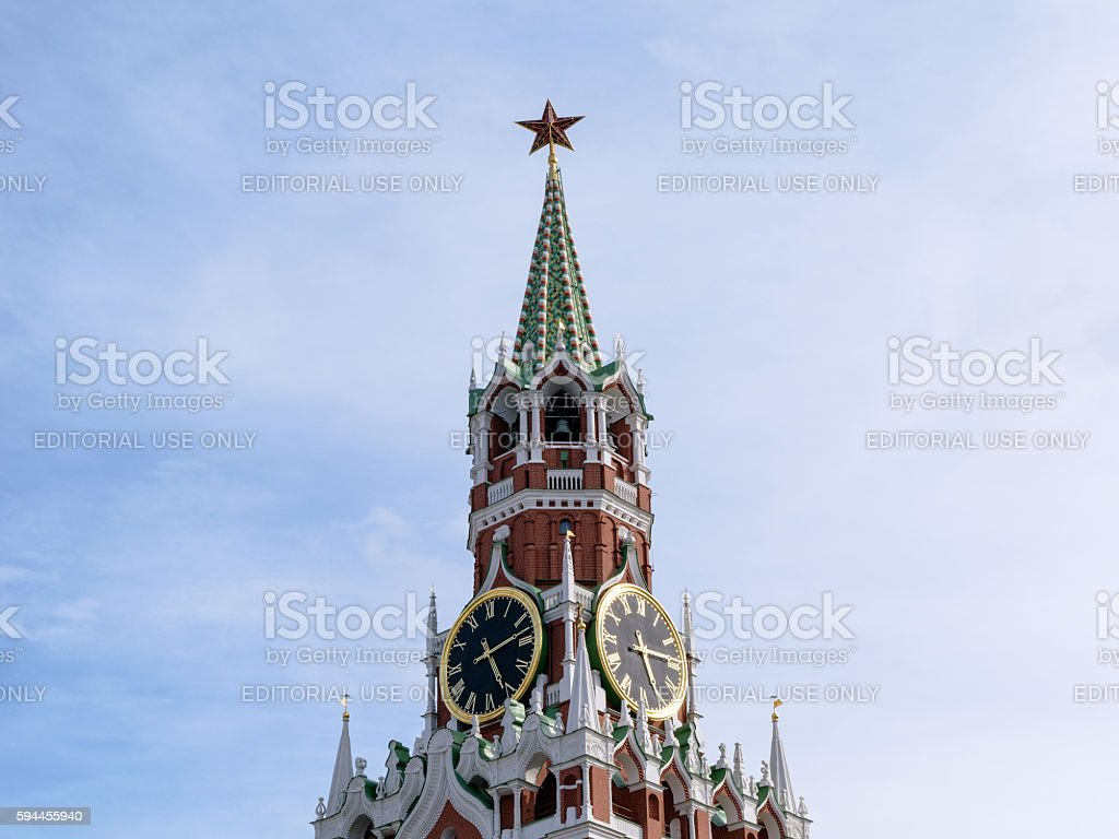 Chimes and Courant (huge clock) on Spassky Tower of Kremlin stock photo