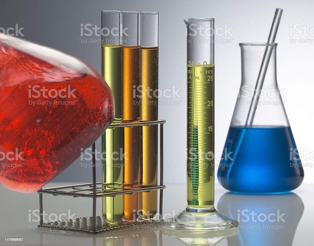 Chimical test tubes. stock photo