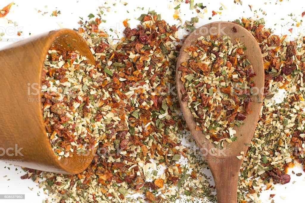 Chimichurri Herbs into a spoon stock photo