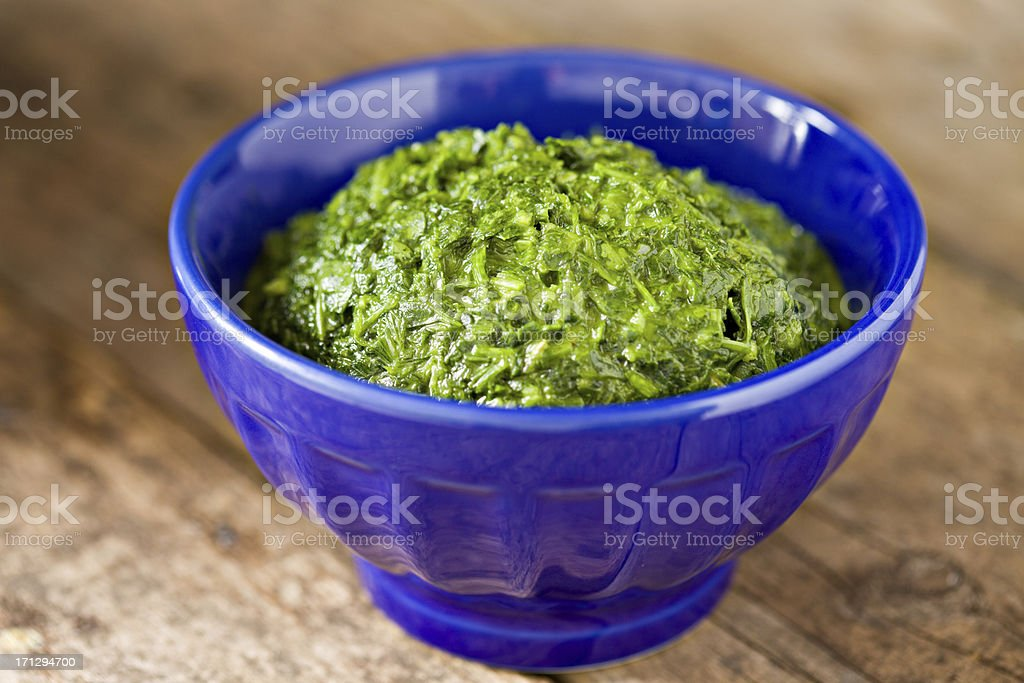 Chimichurri In A Blue Bowl stock photo