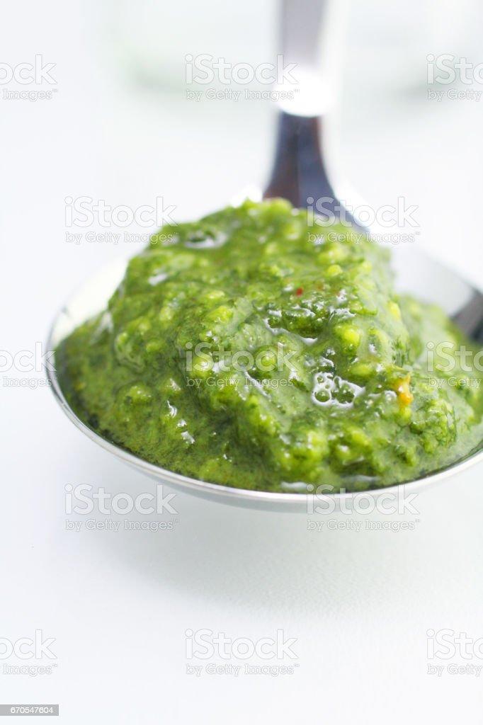 Chimichurri Sauce on a Spoon stock photo