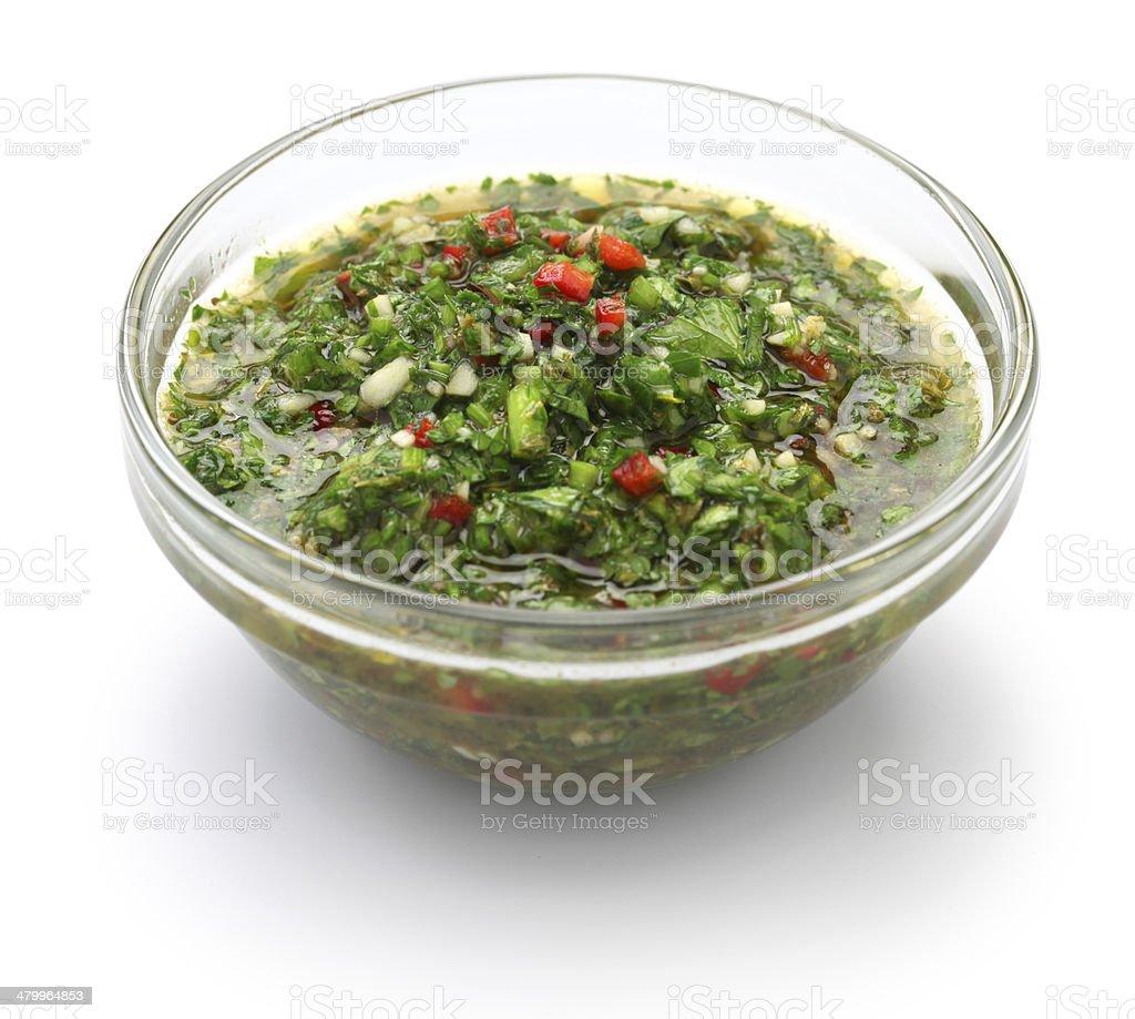 chimichurri sauce, traditional Argentine condiment stock photo