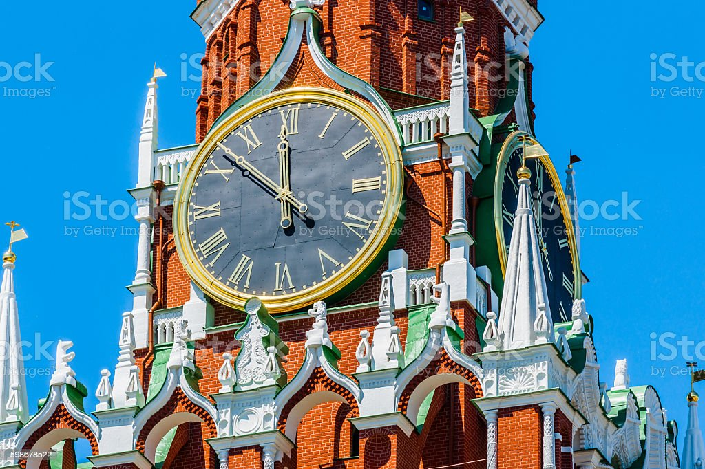 Chiming clocks of Spassky tower of Moscow Kremlin stock photo