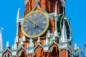 Chiming clocks of Spassky tower of Moscow Kremlin